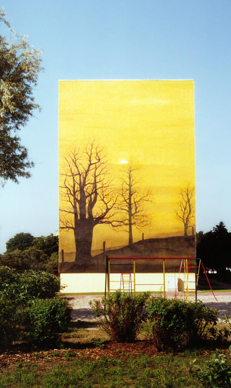 Wandmalerei, Wandbemalung, Wandgemälde, Wandbild, Plattenbau, Siedlung,  Lanschaftsmalerei, Landschaftsbilder,