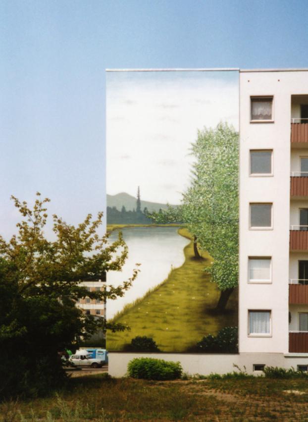 Fesselnd Wandmalerei, Wandbemalung, Wandgemälde, Wandbild, Plattenbau, Siedlung,  Lanschaftsmalerei, Landschaftsbilder,