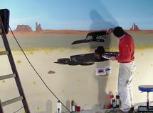 Wandmalerei, Wandbemalung, Wandgemälde, Wandkunst, , Wandbild, Illusionsmalerei, 3D Malerei, 3D Bild, Trompe l'oeil, Airbrush, smart art, Airbrusher Martin Dippel, Dortmund, Hallenbemalung, Verkaufsraum, USA, Landschaft, Amerika, Muscle Cars, Perspektiv M