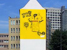 Wandmalerei, Wandbemalung, Wandgemälde, Wandbild, Fassadenmalerei, Fassaden, Bilder, Fassaden, Gestaltung, Street Art, Graffiti, BVB, Trickot 2012, Borussia, PUMA, smart art, Airbrusher Martin Dippel, Dortmund