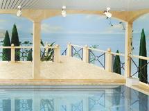 Wandmalerei, Wandbemalung, Wandgemälde, Wandkunst, , Wandbild, Illusionsmalerei, 3D Malerei, 3D Bild, Trompe l'oeil, Perspektivmalerei, Schwimmbadbemalung, Schwimmbad Malerei, Swimmingpool Bemalung, Wellness Bereich, Wellness, mediterran, Landschaft